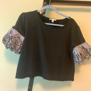 S Cropped Top with Patterned Eyelet Puff Sleeves